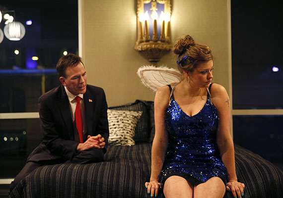 Frank (Paul Morgan Stetler) and J (Hannah Mootz).  Photo by Chris Bennion